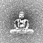 "Close up of Think Positive Apparel's  ""buddha burst"" design"