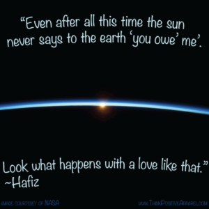 Sun illuminates atmosphere with Hafiz love poem
