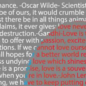 a portion of the Love Design made of quotations about love