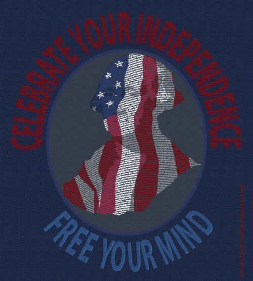 "Think Possible Apparel's Independence Day design made from the Declaration of Independence encircled by the phrase ""Celebrate your Independence 