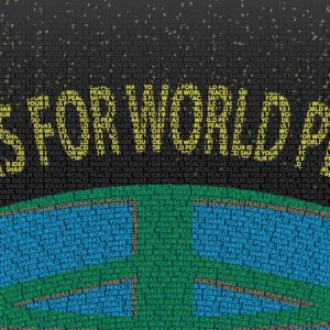 "featured image of a earth with the phrase ""Ideas for world Peace"" above it and made entirely of tiny words"