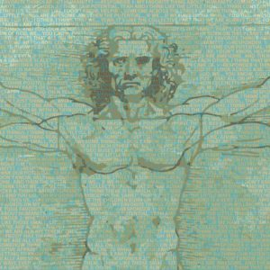 Leonardo da Vinci's Vitruvian Man made of the text transcript from this video about people's favorite things about humanity by Think Positive Apparel