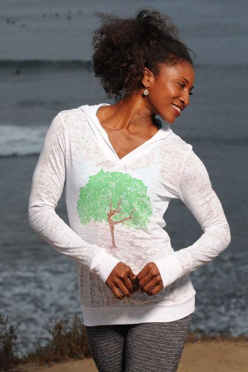 featured image of Think Possible Apparel's dancing tree affirmations design screen printed on a lightweight pullover hoody  in the color white