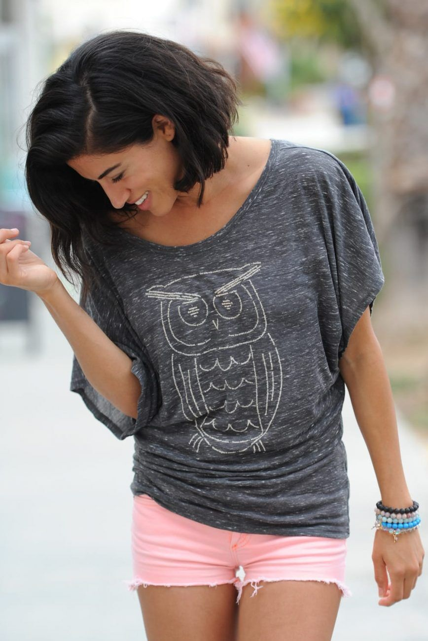 Our Wise Owl Design screen printed on a woman's Flowy Doleman Draped Sleeve T-shirt in Charcoal Grey