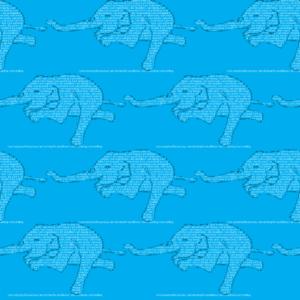 A pattern of elephants doing warrior III pose.