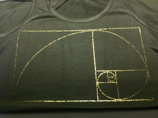 close up look at our Golden Ratio design made of quotations screen printed on a women's flowy racerback tank top in military green