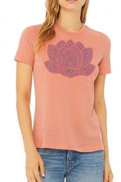 1bd0a7c3 lotus flower – Women's relaxed Jersey Short Sleeve Crew Tee – heather sunset