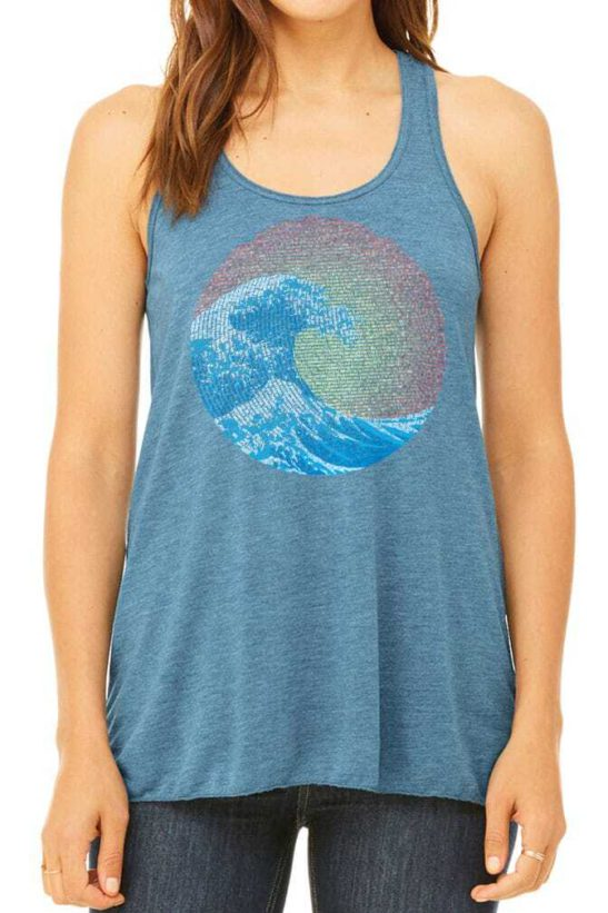 great wave yin yang design screen printed on a flowy racerback tank top in heather deep teal