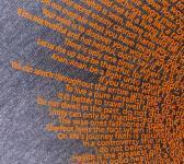 super closeup image of Think Possible Apparel's buddha quotes design screen printed on a indigo shirt
