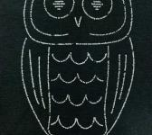 closeup image of Think Possible Apparel's wise owl quotations design screen printed on a black shirt