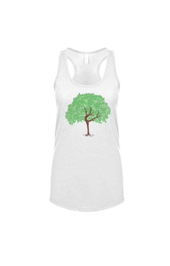 dancing tree design made of affirmations screen printed on a women's racerback tank top in white