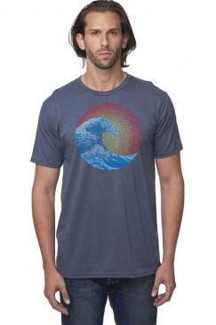 great wave design screen printed on a men's crew neck organic cotton t-shirt in pacific blue