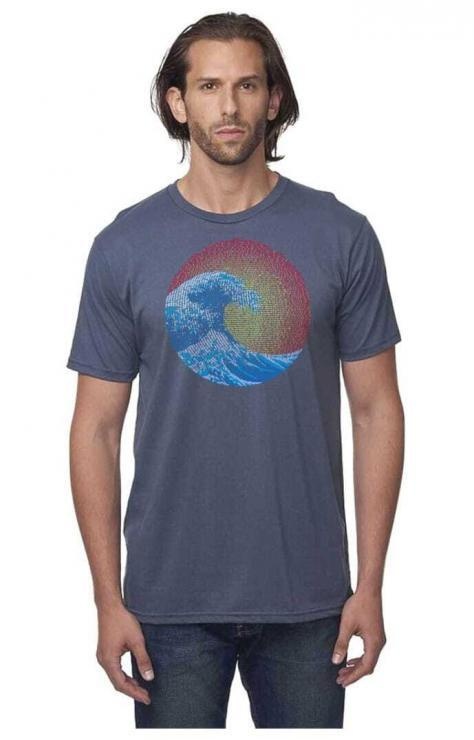 featured image of Think Possible Apparel's great wave yin yang design screen printed on a men's organic cotton t shirt crew neck  in the color deep blue