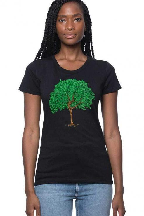 featured image of Think Possible Apparel's dancing tree affirmations design screen printed on a organic bamboo cotton tee  in the color black