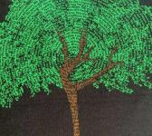closeup image of Think Possible Apparel's dancing tree affirmations design screen printed on a black shirt