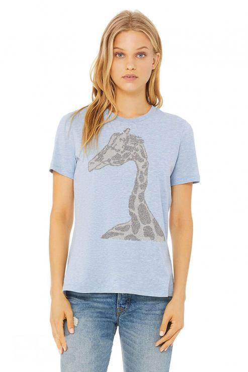 featured image of Think Possible Apparel's giraffe affirmations design screen printed on a women's relaxed fit t-shirt  in the color cool blue