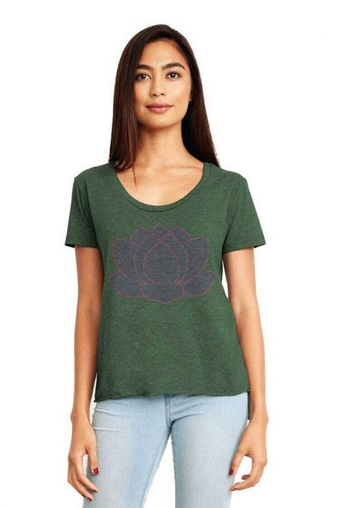 featured image of Think Possible Apparel's lotus flower quotes design screen printed on a scoop neck flowy shirt  in the color forrest green