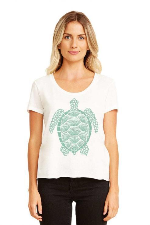 featured image of Think Possible Apparel's turtle affirmations design screen printed on a scoop neck flowy shirt  in the color white