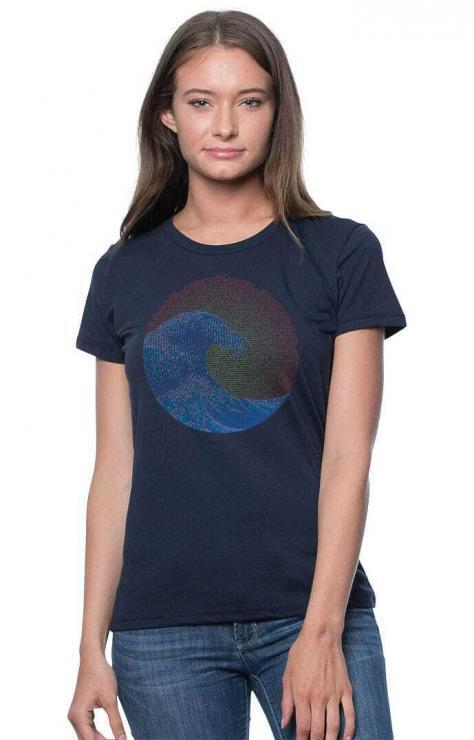 featured image of Think Possible Apparel's great wave yin yang design screen printed on a organic bamboo cotton tee  in the color navy