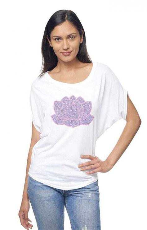 featured image of Think Possible Apparel's lotus flower quotes design screen printed on a organic bamboo and cotton flowy dolman sleeve tee  in the color white