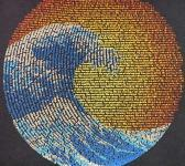 closeup image of Think Possible Apparel's great wave yin yang design screen printed on a midnight navy shirt