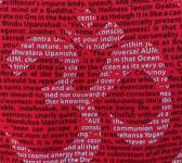 closeup image of Think Possible Apparel's om design screen printed on a red shirt