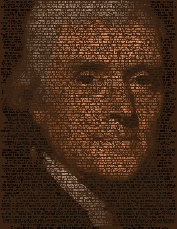 Portrait of Thomas Jefferson made of his words from his first inaugural address