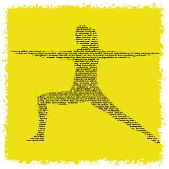 Yoga Warrior 2 design made of positive affirmations by Think Positive Apparel
