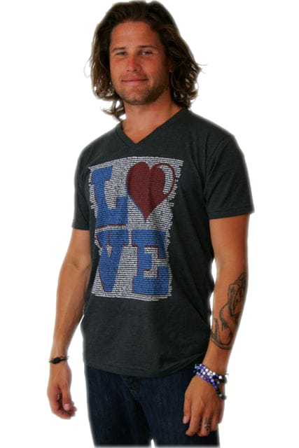 Love design screen printed on a dark grey men's v-neck t-shirt