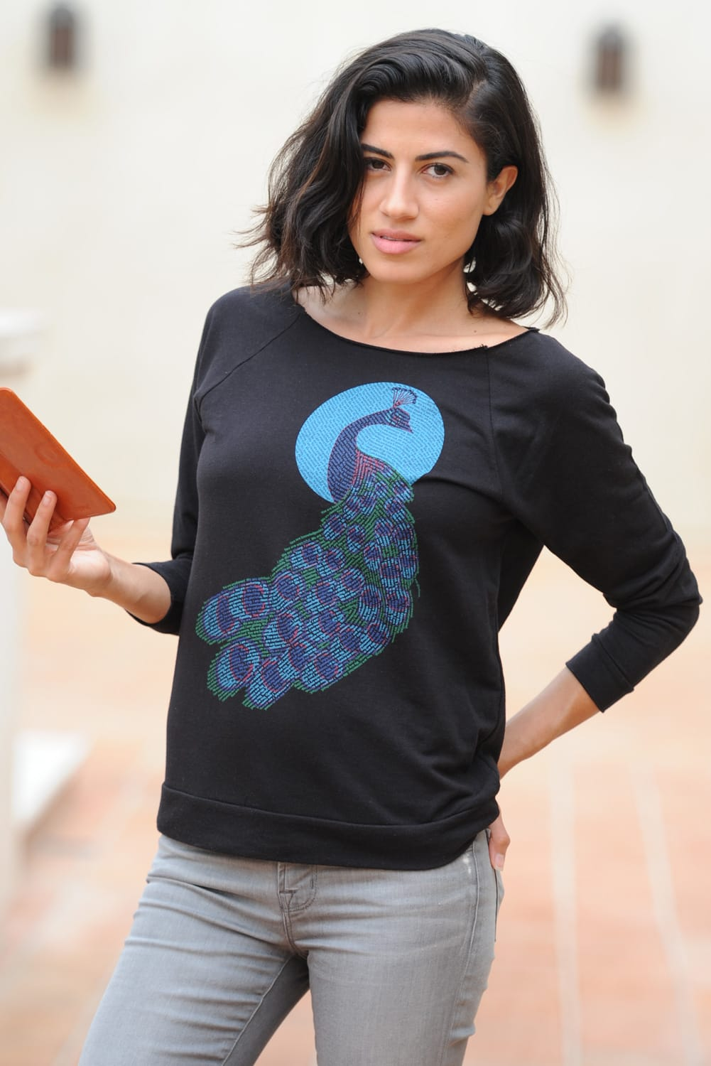 Peacock design on terry 3/4 sleeve raglan wide neck tee