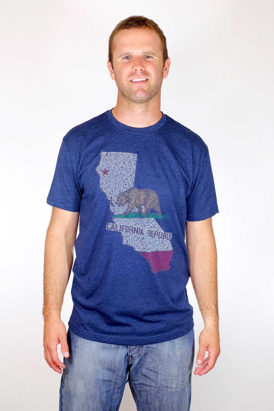 Think Positive Apparel's California Design on Ladies Triblend Crew Neck T-shirt in navy blue