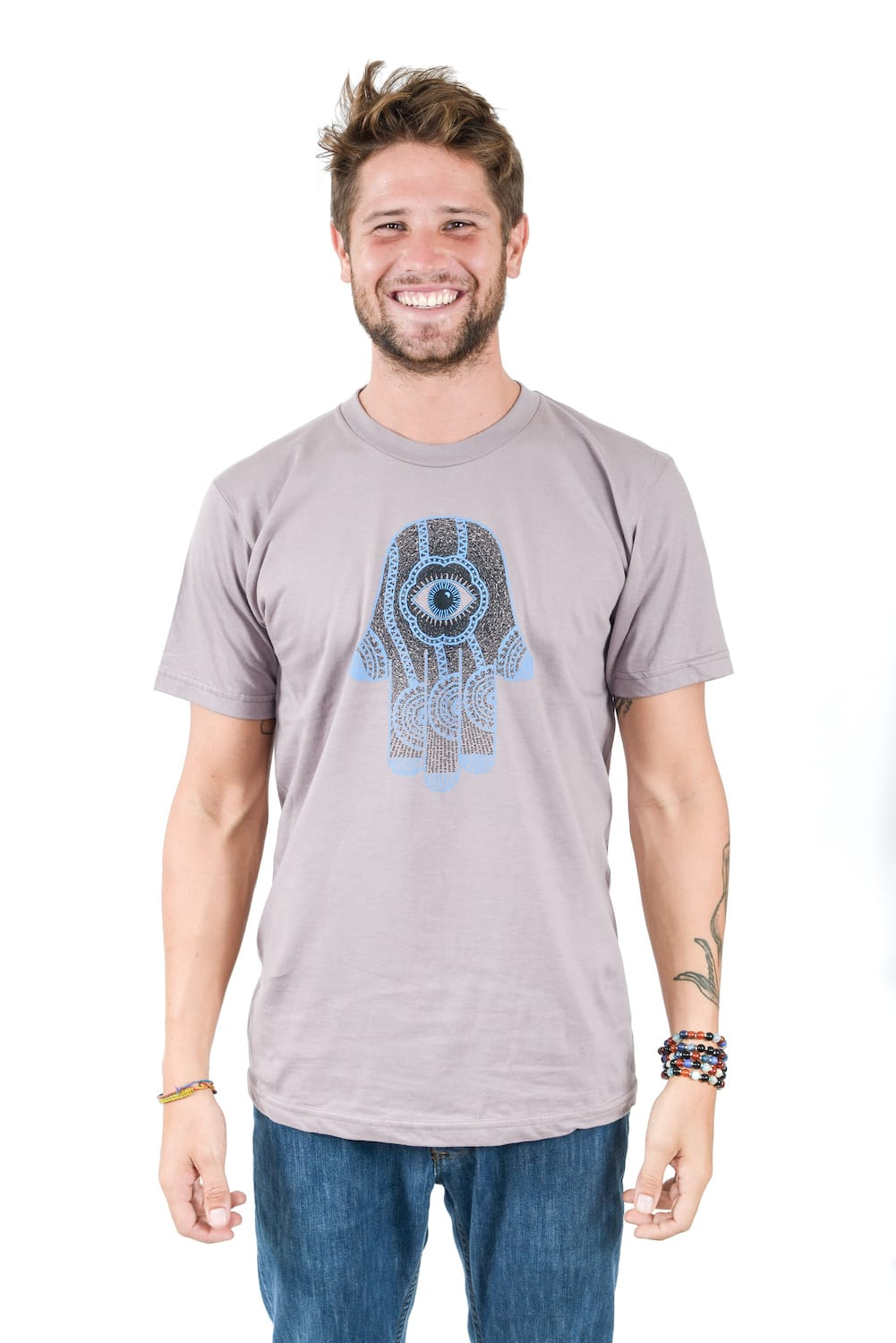 Hamsa_design-blue_on_black_on_men's organic crew neck t-shirt in cinder-Think_Positive_Apparel-WebSm