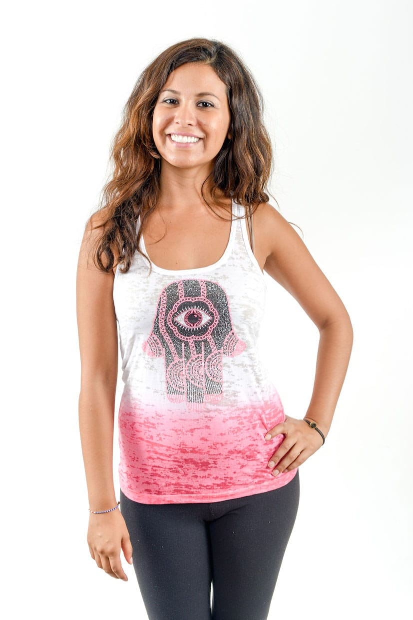 Hamsa_design-pink_on_black_on_blue-Think_Positive_Apparel-WebSm