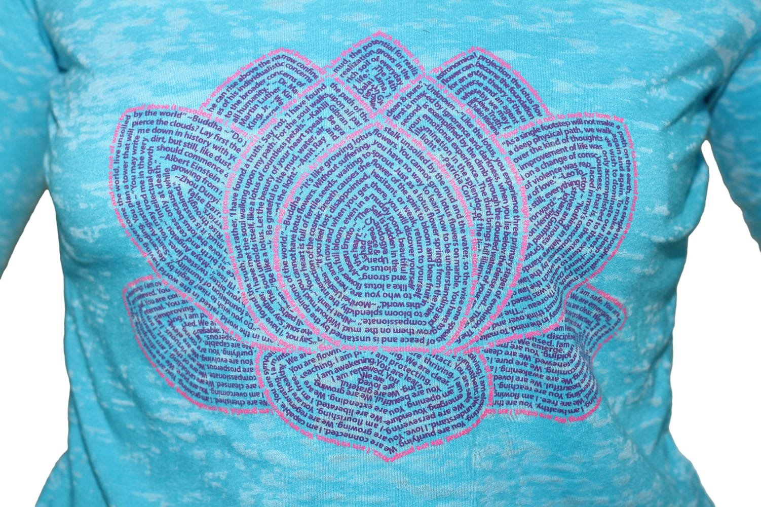 Think Positive Apparel's Lotus Flower Design Made of quotations and affirmations about the meaning of the lotus flower