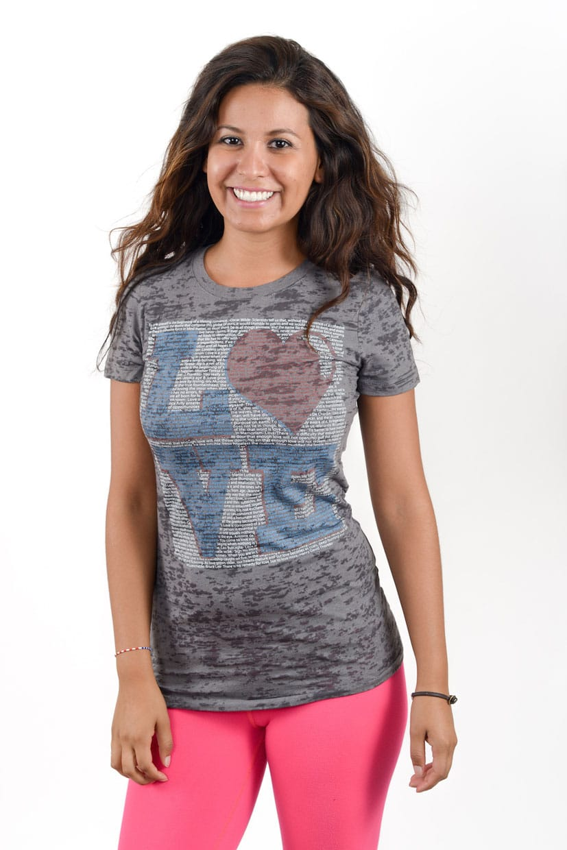 Love design on a grey ladies burnout t-shirt