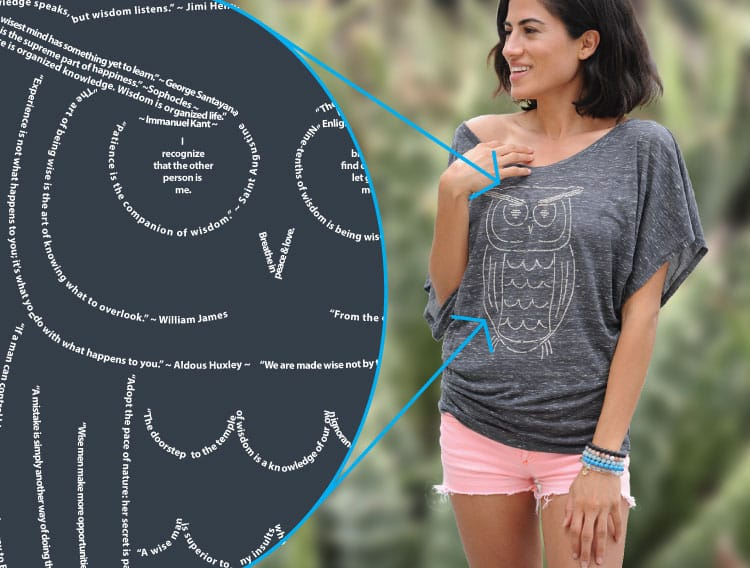 owl of wisdom made of quotations on wisdom on a ladies flowy dolman sleeve t-shirt by Think Positive Apparel